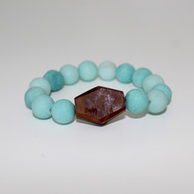Jade Bracelet with Olive Wood (Harmony/Peace/Friendship). Stretch Bracelet. 7 inches.