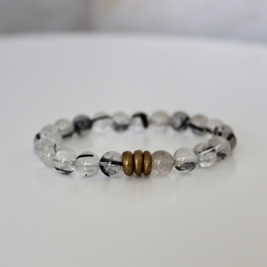 Tourmalated Quartz Bracelet (harmony/tranquility). Handmolded Brass Accent for natural good. Stretch Bracelet. 7 inches.