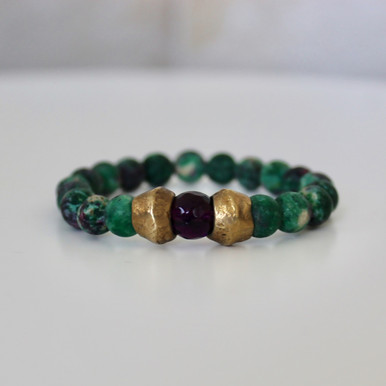Blended Stone Bracelet. Handmolded Brass Accent for natural good. Stretch Bracelet. 7 inches.