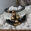 It is all about the STATEMENT, this bracelet stack gives the right pop to any outfit. Larvikite=cleansing, Clear Quartz=clarity, Onyx=strength, Howlite=calming, Lava Rock=healing courage, Brass Accents=Natural Good. Stretch Bracelet. 7inches.