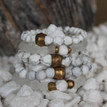 It is all about the STATEMENT, this bracelet stack gives the right pop to any outfit. Clear Quartz=clarity, Howlite=calming, Lava Rock=healing courage, Brass Accents=Natural Good. Stretch Bracelet. 7inches.