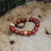 It is all about the STATEMENT, go BOLD and be BRAVE with BRYN+MCKENNA's bracelets in red jasper for empowerment. Brass=Natural Good. Stretch Bracelet fit small to mid-sized wrist. 7inches. Larger size bracelets available upon request/special order contact customerservice@brynmckenna.com subject line: Special Order Size 8.