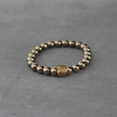 Pyrite|Strength. Handmolded Brass Accent for natural good. Stretch Bracelet. 7 inches. Limited Quantities.