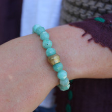 Amazonite|soothing, encourages balance and creativity. Handmolded Brass Accent for natural good. Stretch Bracelet. 7 inches. Limited Quantities.