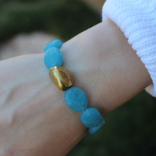 Stone Bracelet. Hand-molded Brass Accent for natural good. Stretch Bracelet. 7 inches. Limited Quantities.