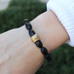 Onyx|positivity, strength, and confidence. Hand-molded Brass Accent for natural good. Stretch Bracelet. 7 inches. Limited Quantities.