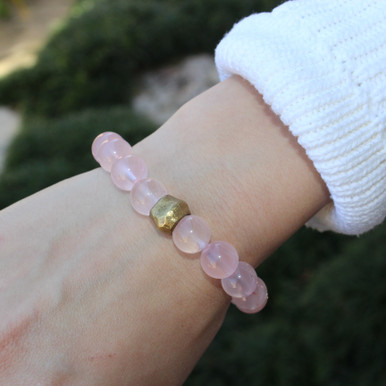 Rose Quartz|peace, happiness, forgiveness, and compassion. Hand-molded Brass Accent for natural good. Stretch Bracelet. 7 inches. Limited Quantities.