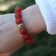 Carnelian|motivating, leadership, endurance, courage.  Hand-molded Brass Accent for natural good. Stretch Bracelet. 7 inches. Limited Quantities.