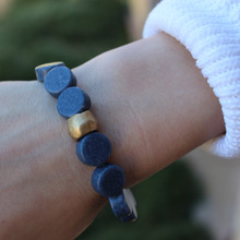 Blue Sponge Coral|Calming, stabilizes, peace.  Hand-molded Brass Accent for natural good. Stretch Bracelet. 7 inches. Limited Quantities.