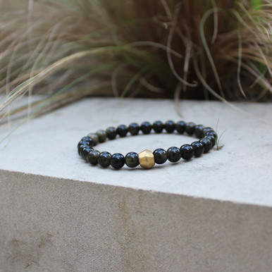 Golden Obsidian|Skills and Talents.  Hand-molded Brass Accent for natural good. Stretch Bracelet. 7 inches. Limited Quantities.
