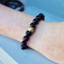 Agate Bracelet. Hand-molded brass accent for natural good. Stretch Bracelet. 7 inches. Limited quantities.