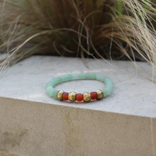 Jade/Carnelian | Harmony/Leadership Bracelet. Hand-molded brass accent for natural good. Stretch Bracelet. 7 inches. Limited quantities.