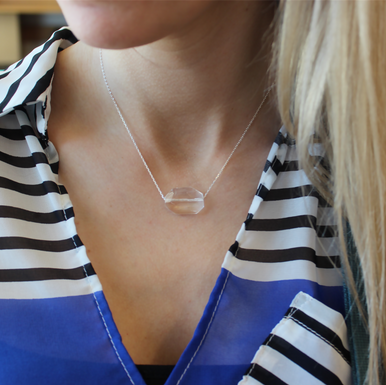 The Clear Quartz (Clarity|Positivity) Necklace it can be worn as a choker or as a necklace up to 18 inches. Chain = Sterling Silver