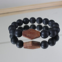 This handsome one-of-a-kind men's bracelet says it all   - BE BOLD -  with onyx and olive wood.
