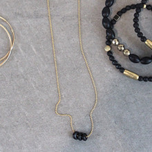 The Onyx (high hopes) Necklace is inspired design promotes hope and positivity to release calm confidence. It can be worn as a choker or as a necklace up to 24 inches. Onyx = Emotional Healing | Chain = Gold Filled