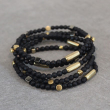 The art of the mix!  Just FLOAT ON with onyx (positivity) | pyrite (strength) | brass (natural good) this stone mutation of aventurine (optimism and self confidence). Stretch Bracelet fit small to mid-sized wrist. 7inches. Larger size bracelets available upon request/special order contact customerservice@brynmckenna.com subject line: Special Order Size 8.