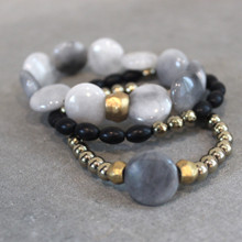 The art of the mix! The Maverick - Pile on the positivity with onyx (strength) | eagle eye  jasper (independence)| pyrite (strength). Brass=Natural Good. Stretch Bracelet fit small to mid-sized wrist. 7inches. Larger size bracelets available upon request/special order contact customerservice@brynmckenna.com subject line: Special Order Size 8.