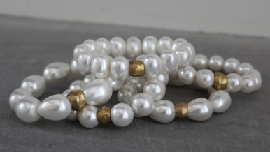 We're taking inner peace to NEXT LEVEL with Mother-Of-Pearls. Mix it, blend it, stack it with all your favorite wristwear. MOST Importantly, COLLECT them all. 5 different shapes and sizes for a limited time.   Stretch Cord. Size 7 (may fit snug)