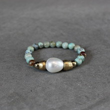 Agate w/Mother-Of-Pearl|Harmonious Peace. Handmolded Brass Accent for natural good. Stretch Bracelet. 7 inches. Limited Quantities.