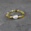 Yellow Opal w/Mother-Of-Pearl|Vitality and Peace. Handmolded Brass Accent for natural good. Stretch Bracelet. 7 inches. Limited Quantities.