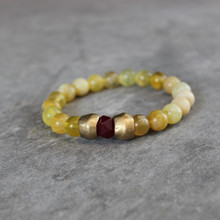 Yellow Opal w/Jade|Harmonious Vitality. Handmolded Brass Accent for natural good. Stretch Bracelet. 7 inches. Limited Quantities.