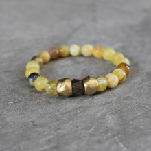 Yellow Opal w/Jade|Mindful Vitality. Handmolded Brass Accent for natural good. Stretch Bracelet. 7 inches. Limited Quantities.