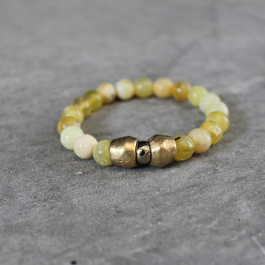 Yellow Opal w/ Pyrite|Vitality and Strength. Handmolded Brass Accent for natural good. Stretch Bracelet. 7 inches. Limited Quantities.