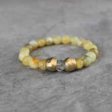 Yellow Opal w/ Clear Quartz|Vitality and Clarity. Handmolded Brass Accent for natural good. Stretch Bracelet. 7 inches. Limited Quantities.