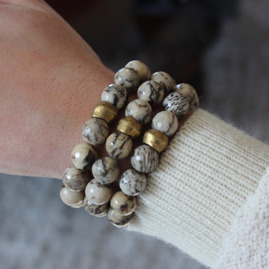 Our take on animal print accents Zebra Jasper to promote optimism and encouragement. Mix|Stack|Blend|Layer|Collect  Handmolded Brass Accent for natural good. Stretch Bracelet. 7 inches. Limited Quantities.