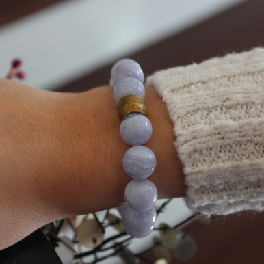 Turn up true communication with Blue Lace Agate. Mix|Stack|Blend|Layer|Collect  Handmolded Brass Accent for natural good. Stretch Bracelet. 7 inches. Limited Quantities.