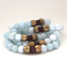 The art of the mix! Inner Bliss with this agate pack.  Brass=Natural Good. Stretch Bracelet fit small to mid-sized wrist. 7inches. Larger size bracelets available upon request/special order contact customerservice@brynmckenna.com subject line: Special Order Size 8.