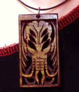 Balinese wood Cthulhu pendant