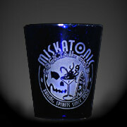 Miskatonic Cocktail Club blue shot glass