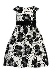 Sweet Kids Girls Blk & Wht Velvet Flocked Dress - (4 - 6 Yrs )
