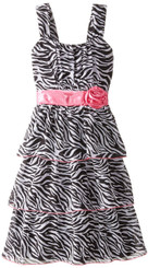 Emily West Big Girls' Zebra Printed Chiffon Dress