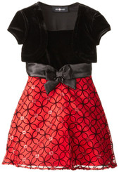 Amy Byer Little Girls' Twofer Velvet Taffeta Dress - 3 Years