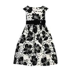 Sweet Kids Little Girls' Black & White Velvet Flocked Party Dress ( 1 - 3 Years )