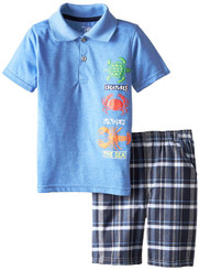Kids Headquarters Little Boys' Polo Top with Plaid Shorts Sea Creatures - 4 - 6Years