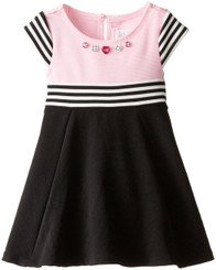 Youngland Little Girls' A-Line Textured Knit Striped Fashion Dress - ( 9-12 Mths )