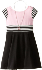 Youngland Little Girls' A-Line Textured Knit Striped Fashion Dress with Necklace
