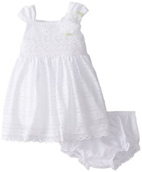 SWEET HEART ROSE Baby Girls' Crochet Bodice Clip Dot Dress - ( 6 - 9 mths )