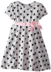 Blueberi Boulevard Little Girls' Flocked Heart Knit Dress