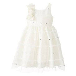 Jayne Copeland LITTLE GIRLS' PARTY DRESS WITH CORSAGE AT SHOULDER - 3 Years
