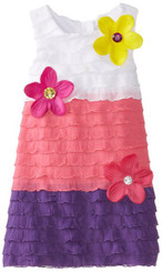 SWEET HEART ROSE LITTLE GIRLS' COLORBLOCK EYELASH DRESS - 4 Yrs