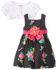 Younghearts Little Girls' 2 Pieced Floral Dress Set - 5 Years