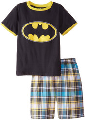 WARNER BROTHERS BATMAN TEE WITH WOVEN PLAID SHORT SET - 3 Years