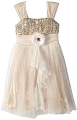 My Michelle Glitter Bodice Dress with Flower At Waist - Big Girl