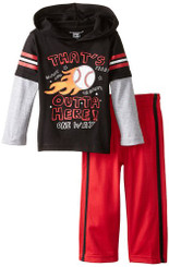 Kids Headquarters Baby Boys' Hoody with Red Tricot Pants = 9/12M