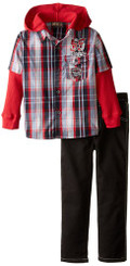 Boyz Wear Boys  2 Pc Woven Pant Set with Plaid Thermal Twofer - 4Yrs
