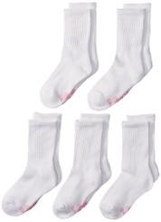 Hanes Girls' Classics 5 Pack Crew Socks - L ( shoe size US4 - US10)